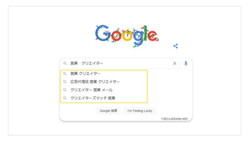 Google検索結果営業クリエイター