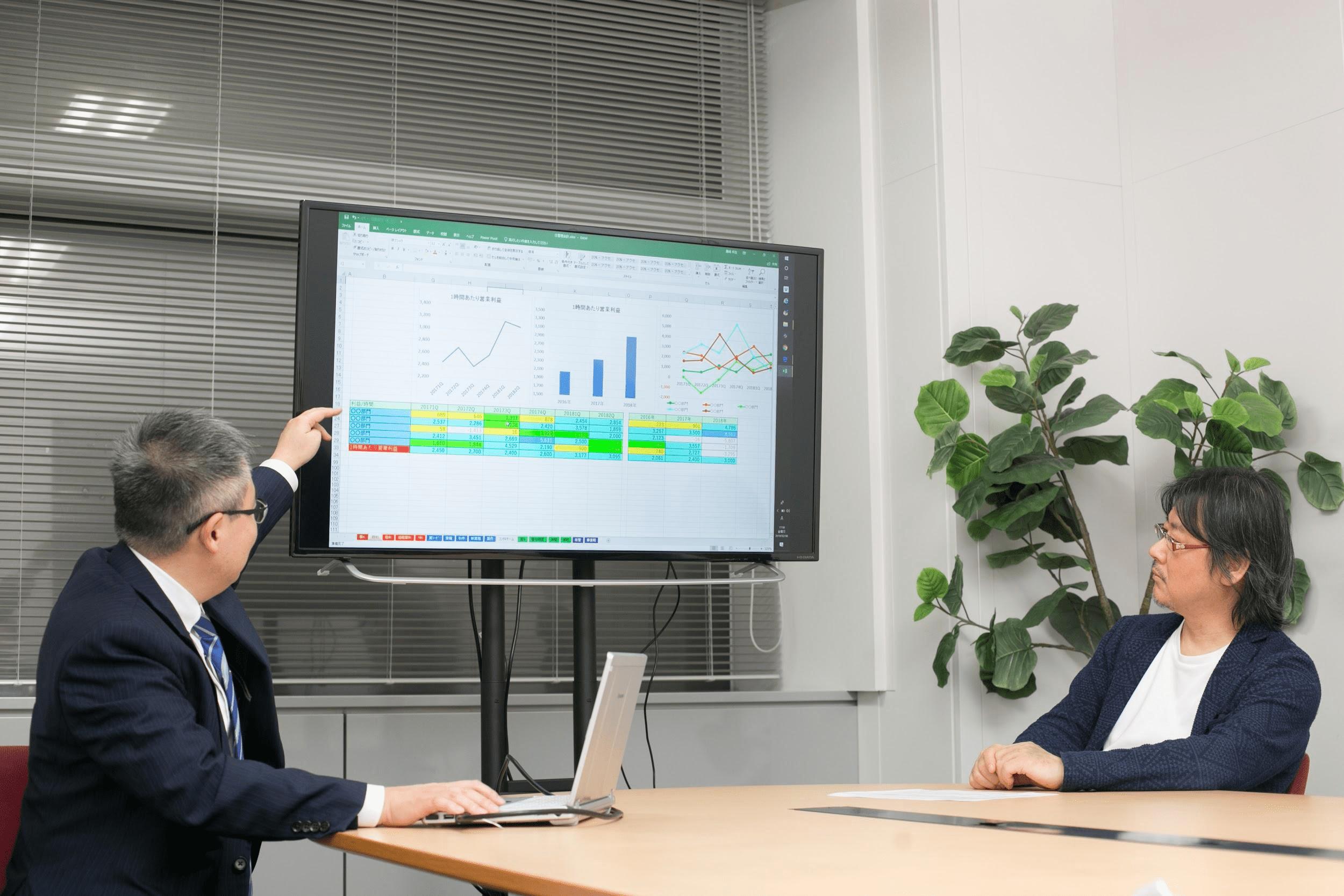 「時間当たり利益」のKPI管理シートをエクス抱社長に見せるオロ藤崎