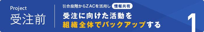 プロジェクト受注前|プロジェクト引合段階からZACを活用し情報共有。|受注に向けた活動を組織全体でバックアップする。